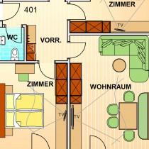 PENTHOUSE SUITE 401 78m²<br/>4 – 6 Personen