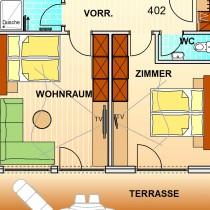 FAMILIEN SUITE 101 65m²<br/>4 – 6 Personen